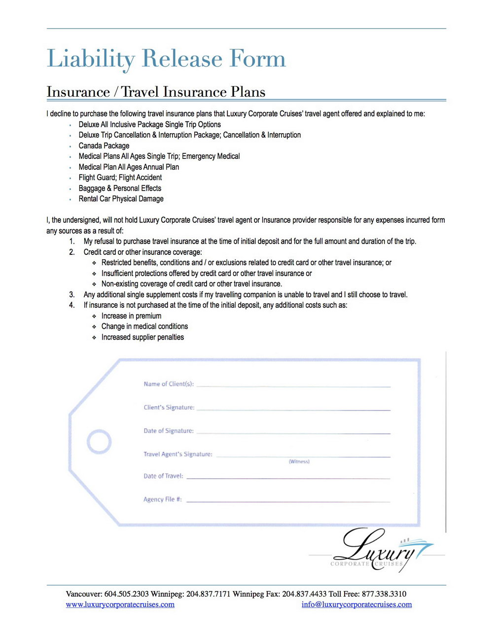 Medical Liability Waiver Form Template