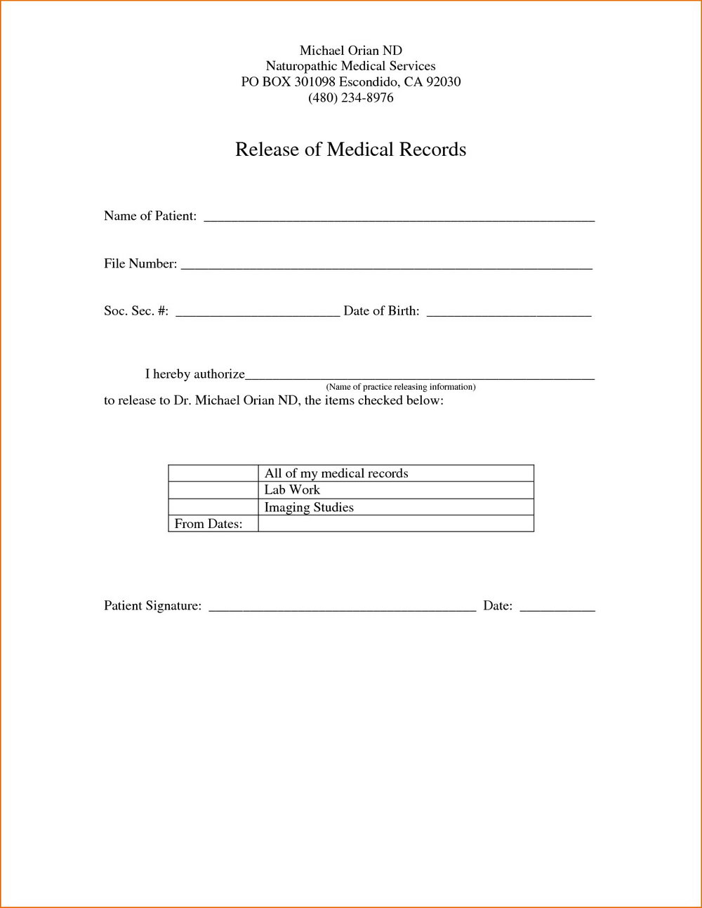 Medical Records Release Form Template Free