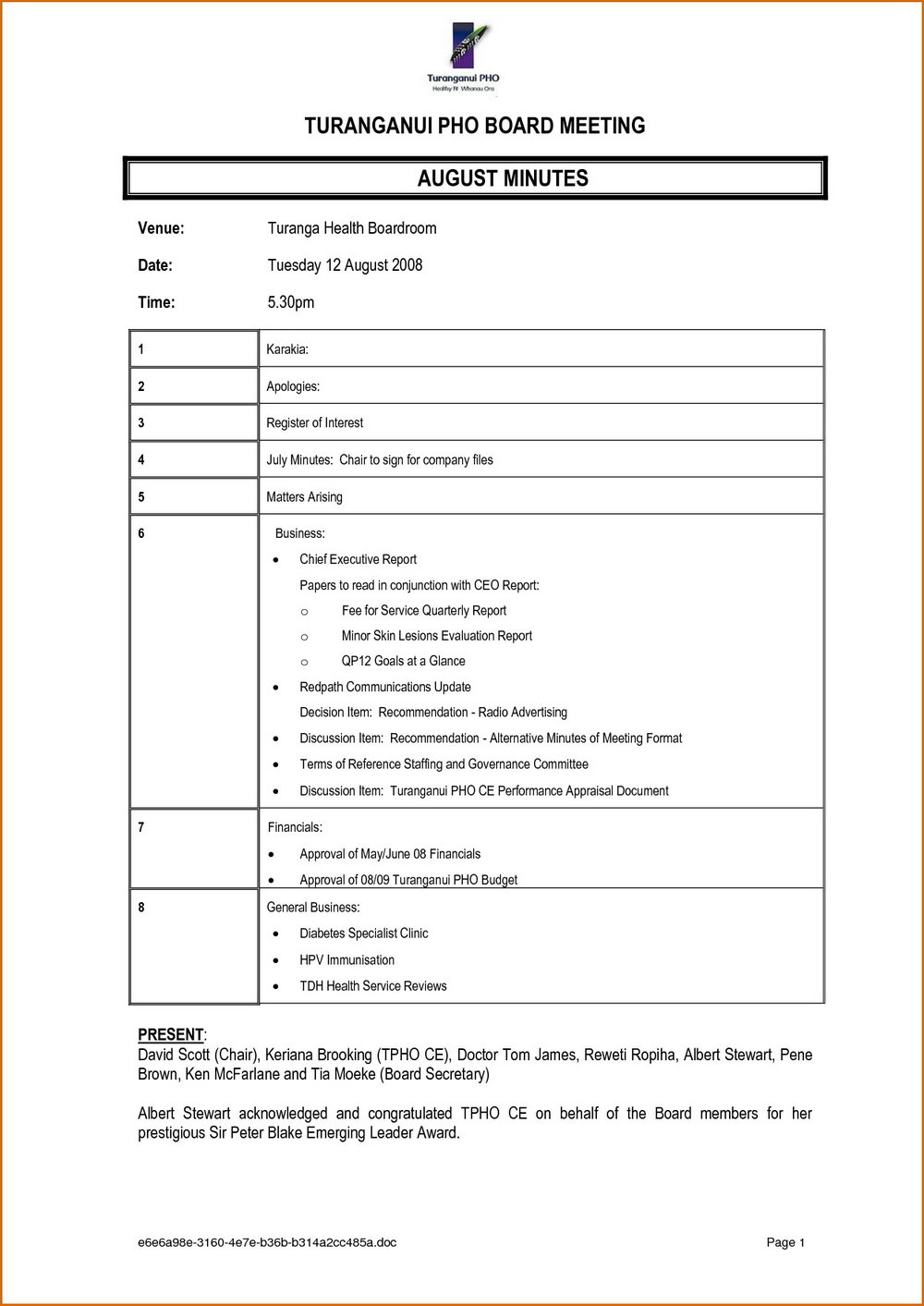 Meeting Minutes Template Docx