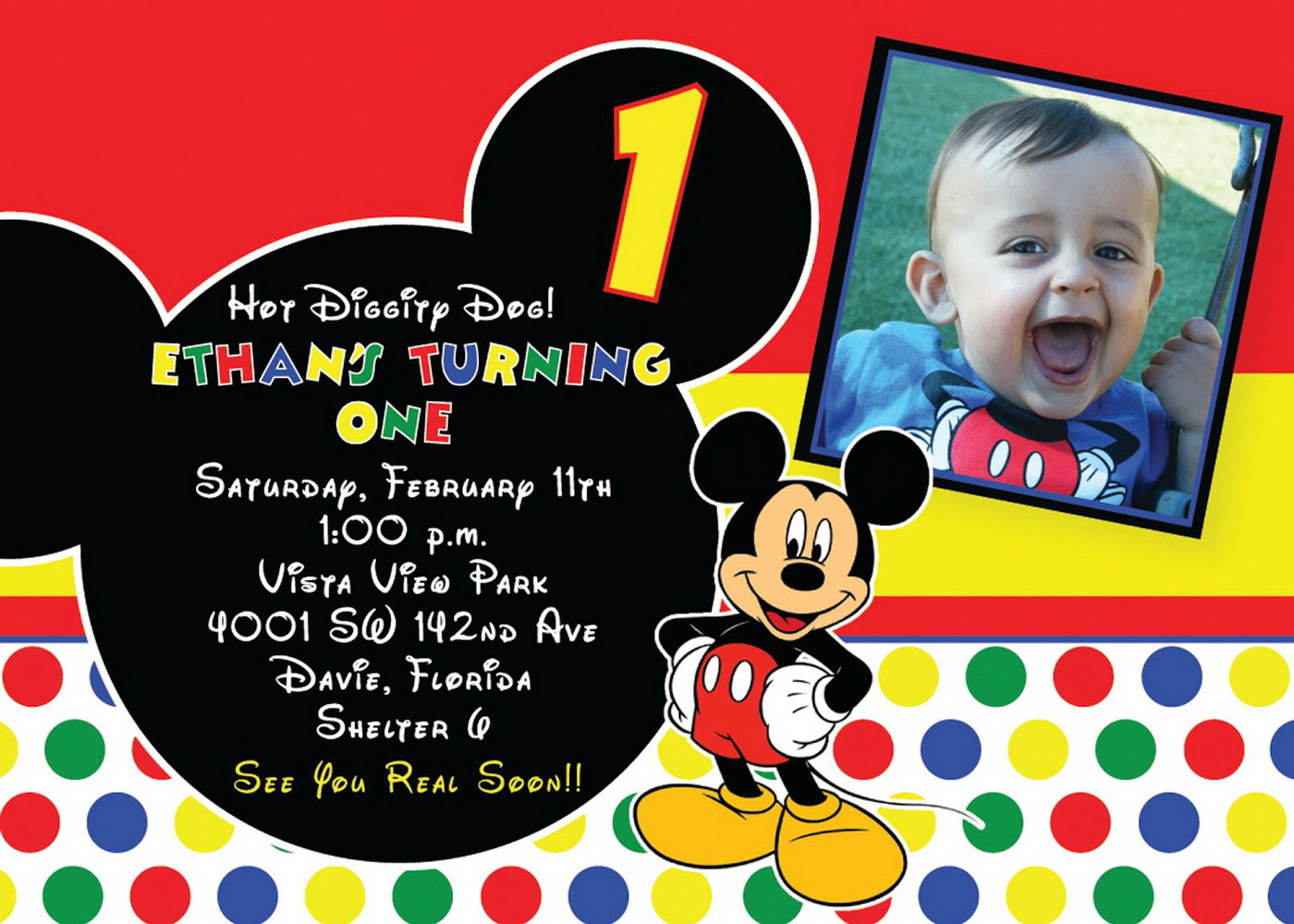 Mickey Mouse 1st Birthday Invitations Template