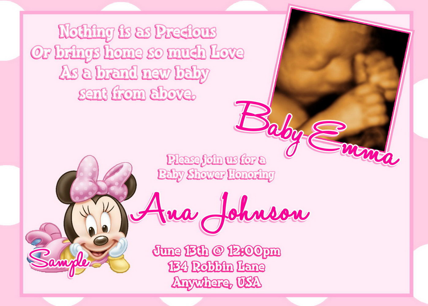 Minnie Mouse Baby Shower Invitation Template Free