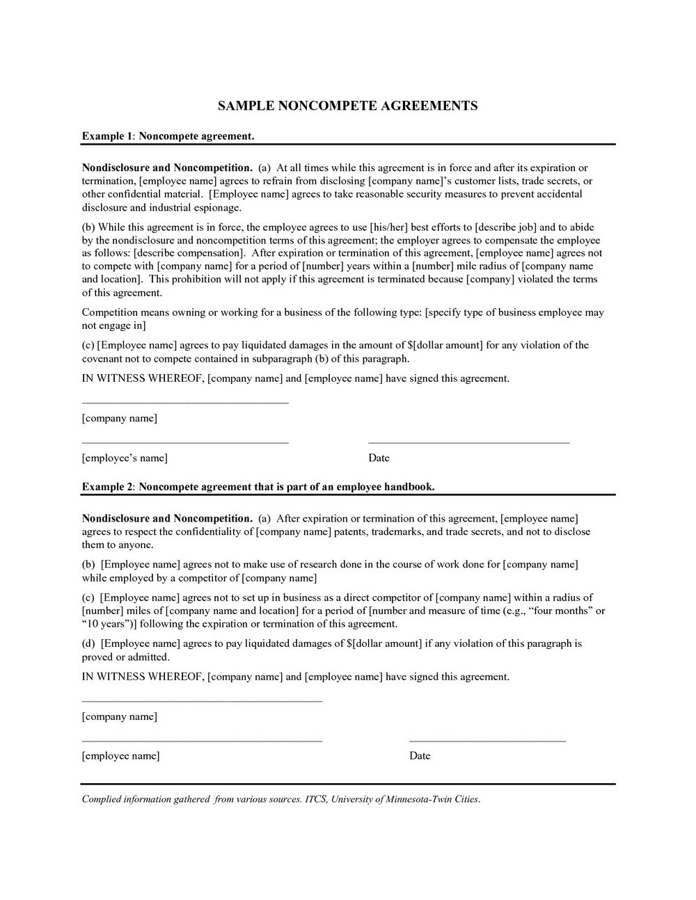 Non Compete Clause Template Uk