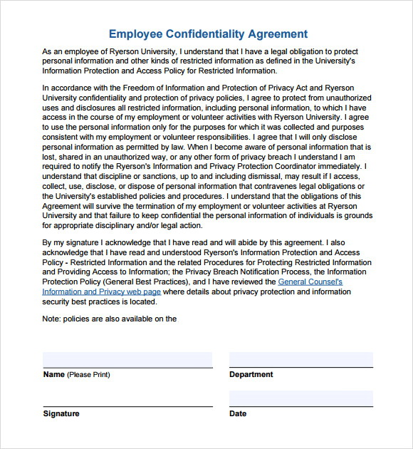 Office Employee Confidentiality Agreement Templates