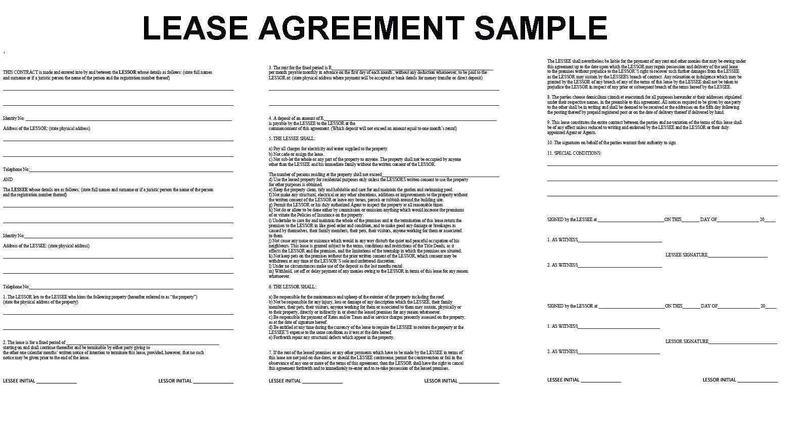 Office Lease Agreement Template Word