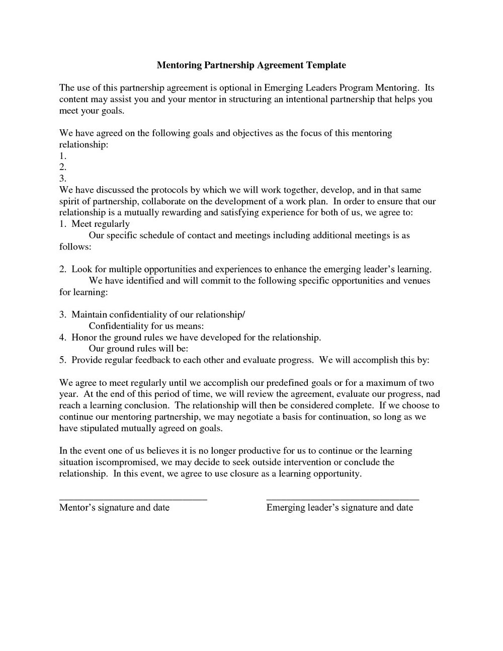 Partnership Contract Template Doc