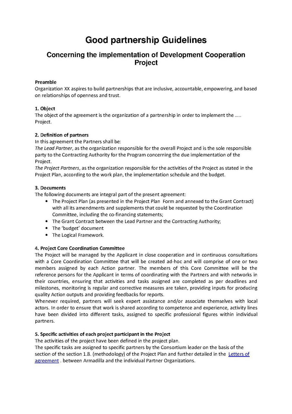 Partnership Contract Template Word