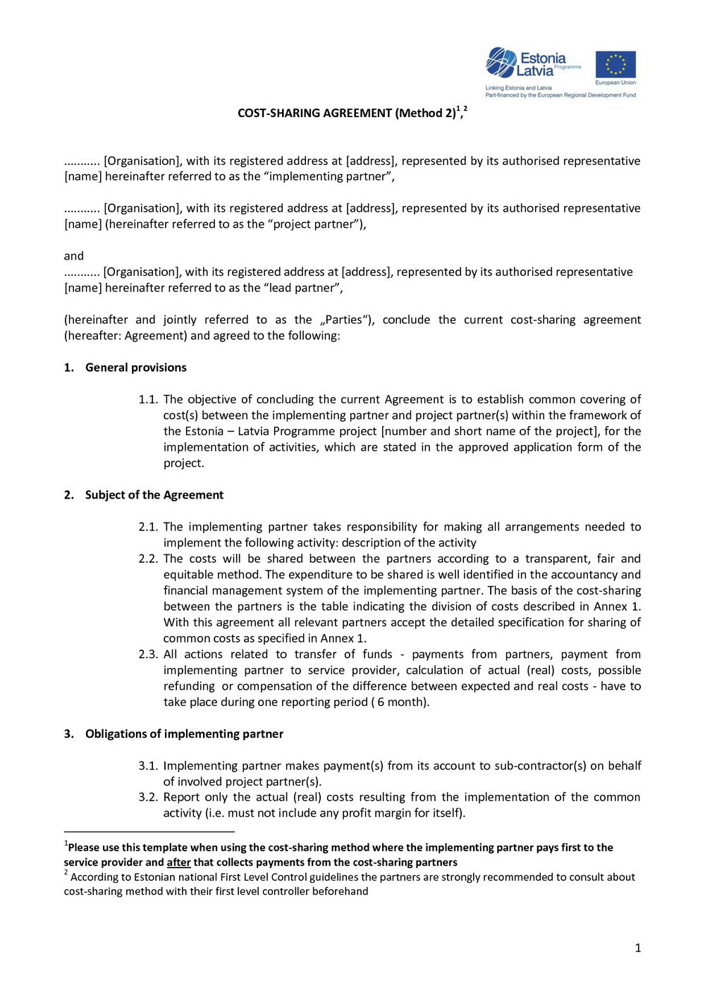 Partnership Profit Sharing Agreement Template