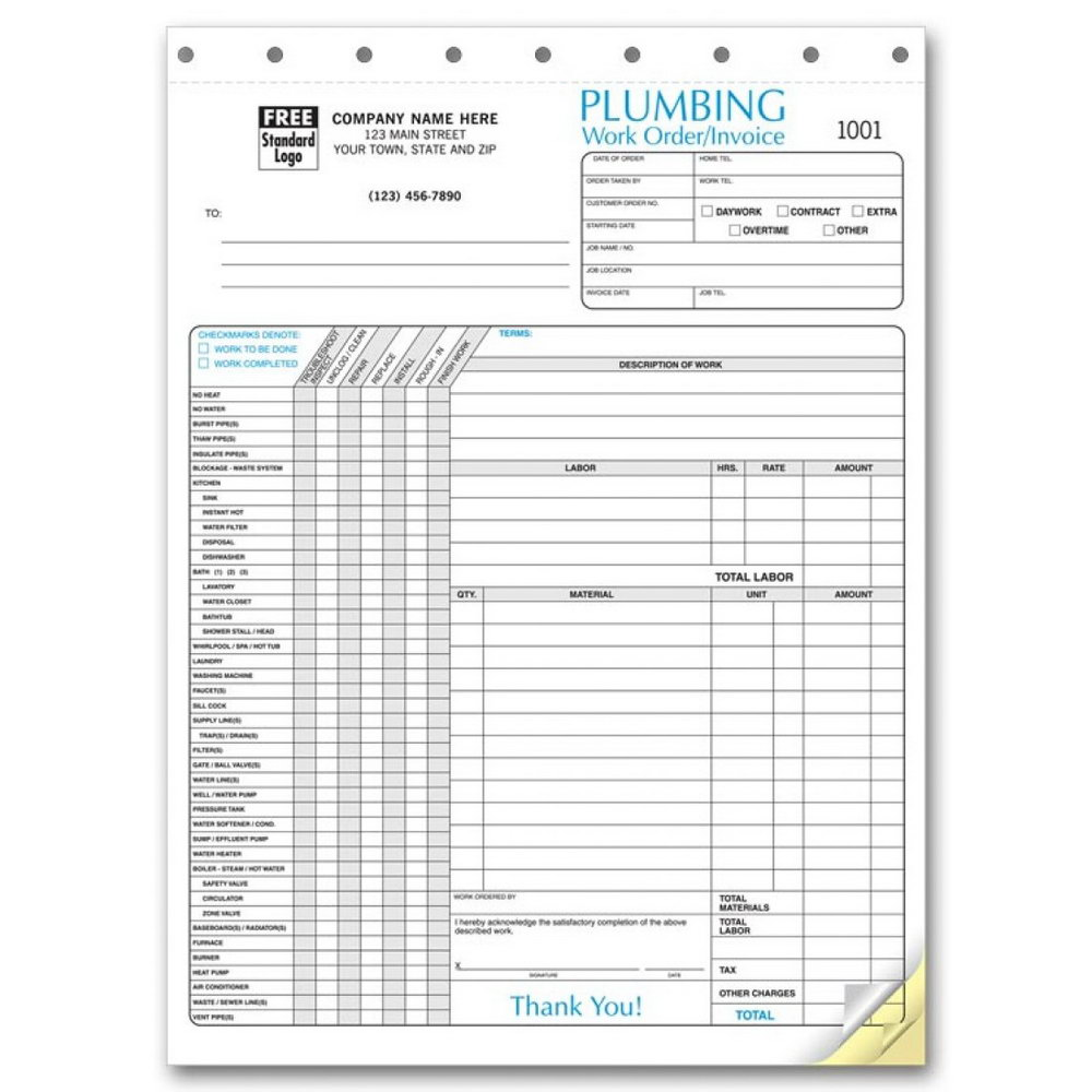 Plumbing Service Invoice Template