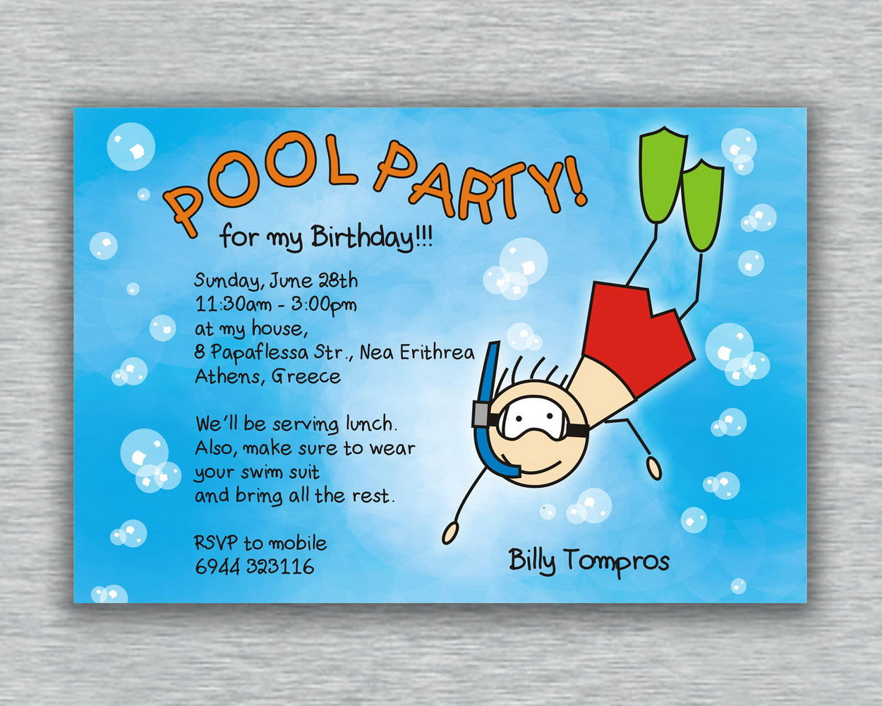 Pool Birthday Party Invitations Templates Free