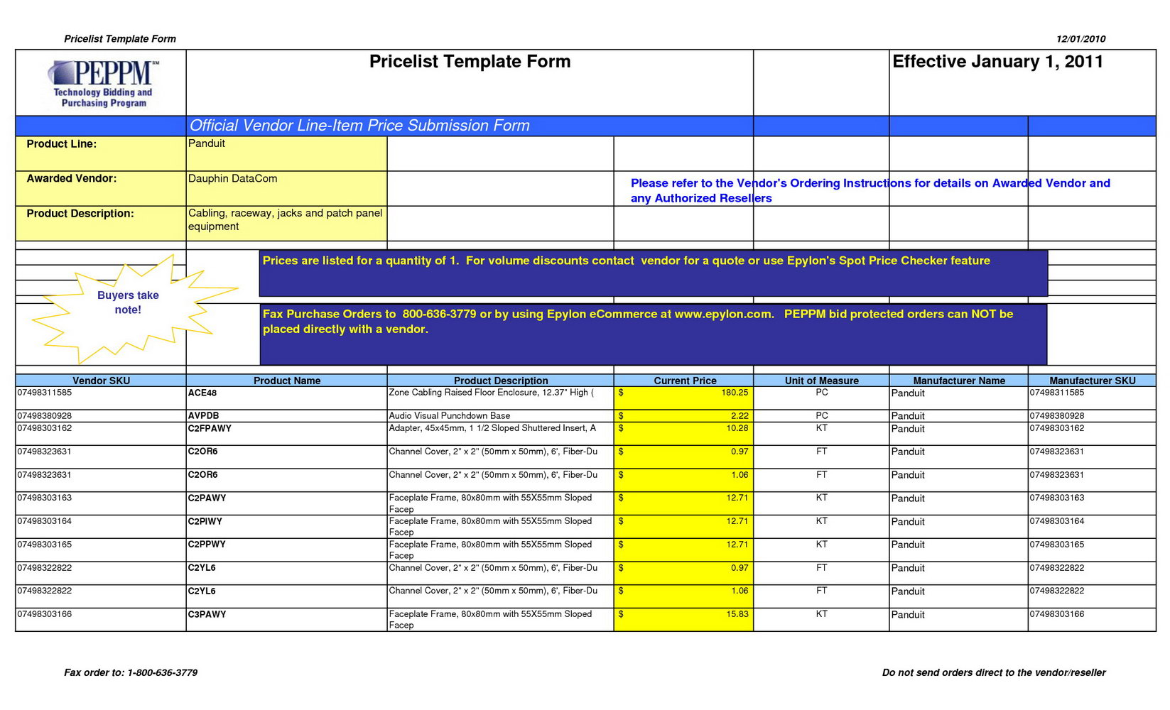 Pricing Proposal Template Excel