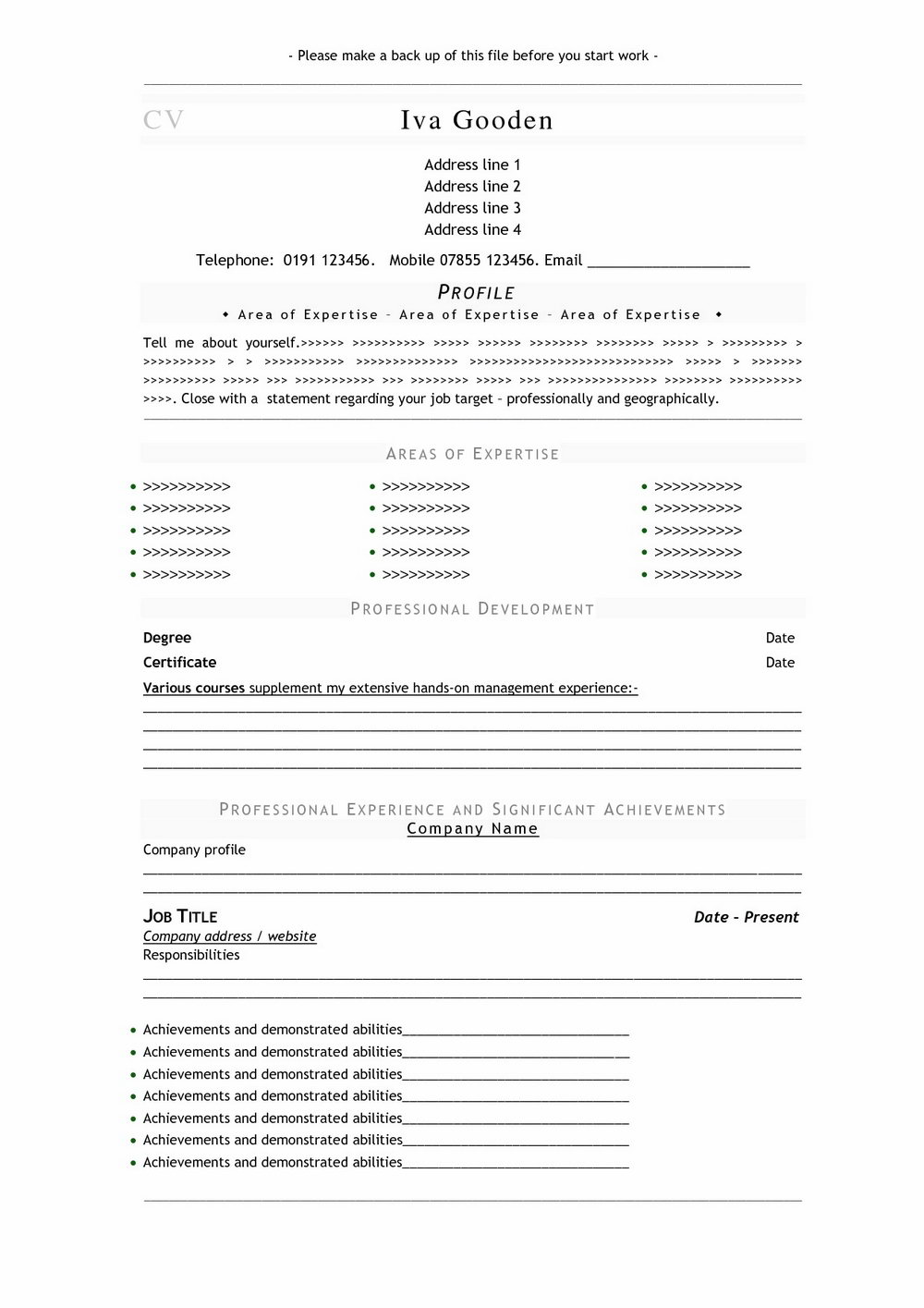 Printable Blank Resume Templates