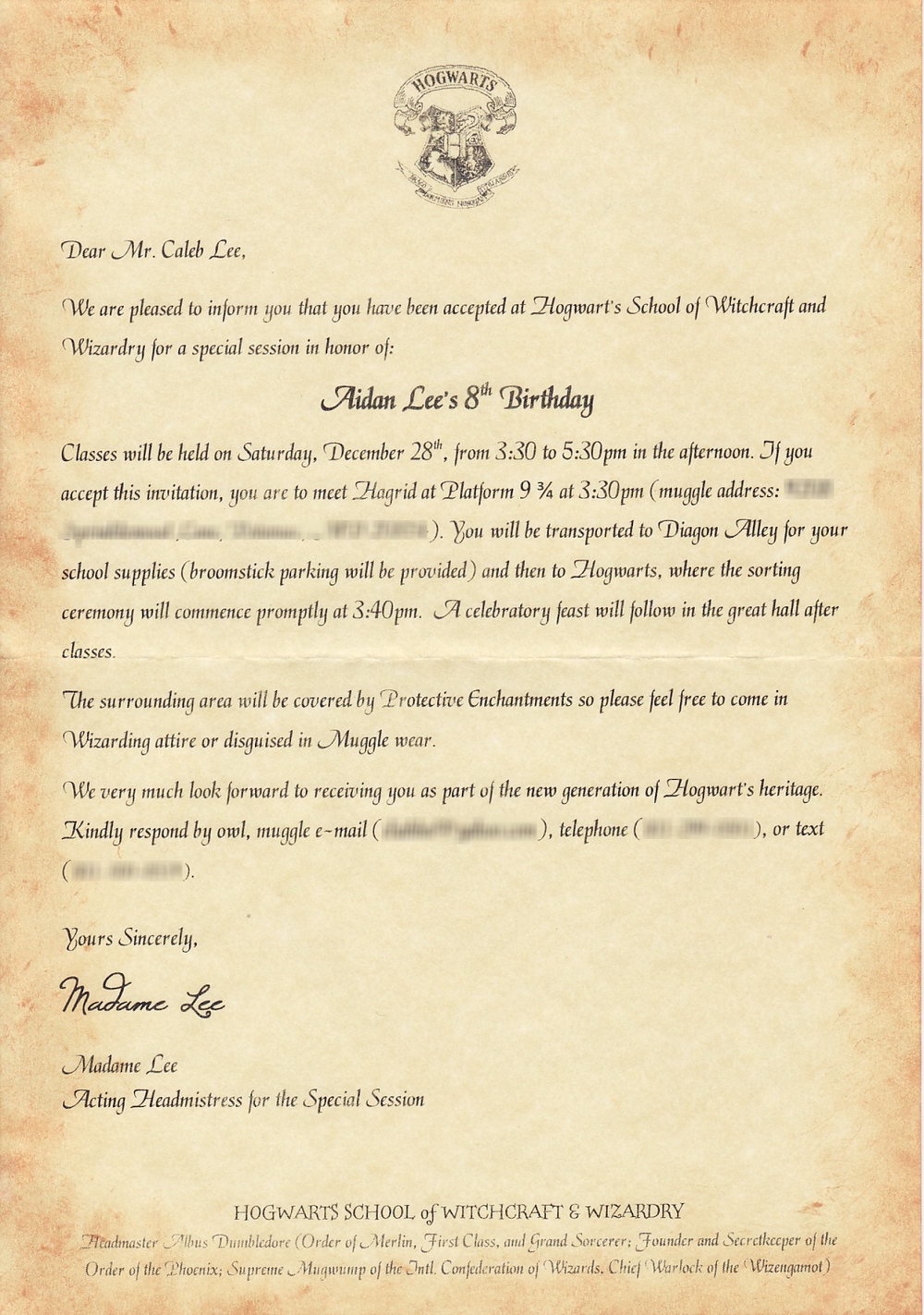 Printable Harry Potter Invitation Template