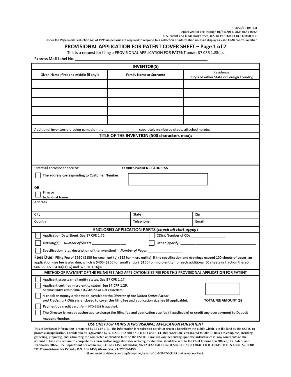 Provisional Patent Application Template Uspto