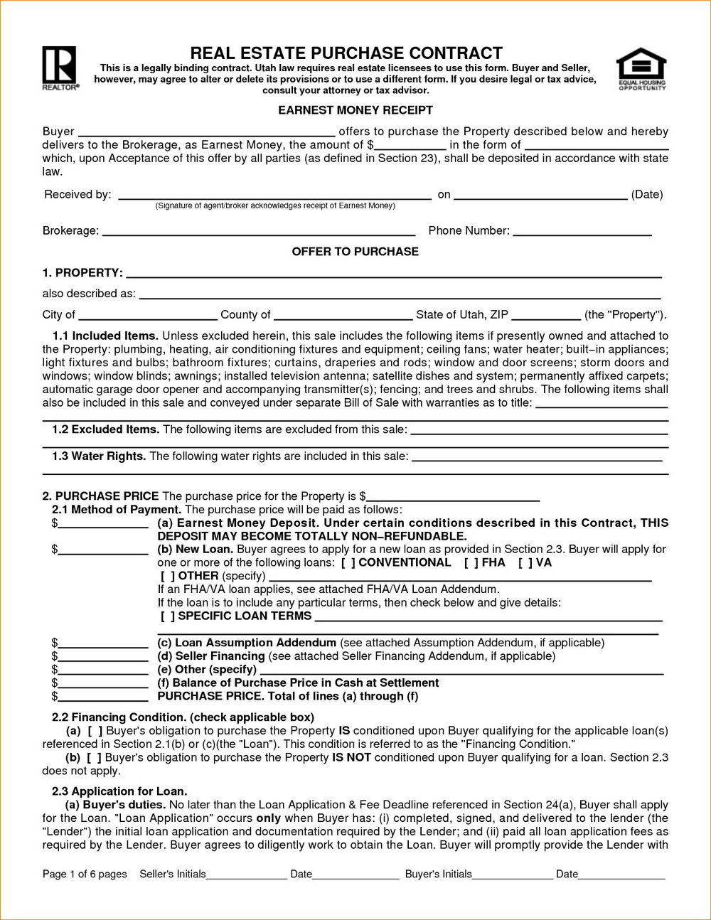 Real Estate Sales Contract Template Free