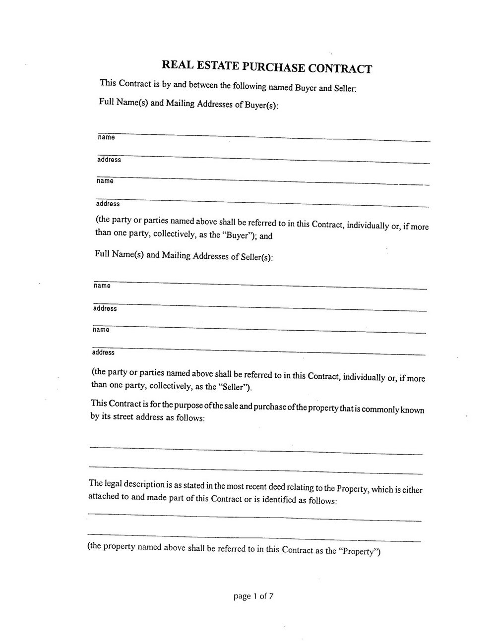 Real Estate Sales Contract Template Word