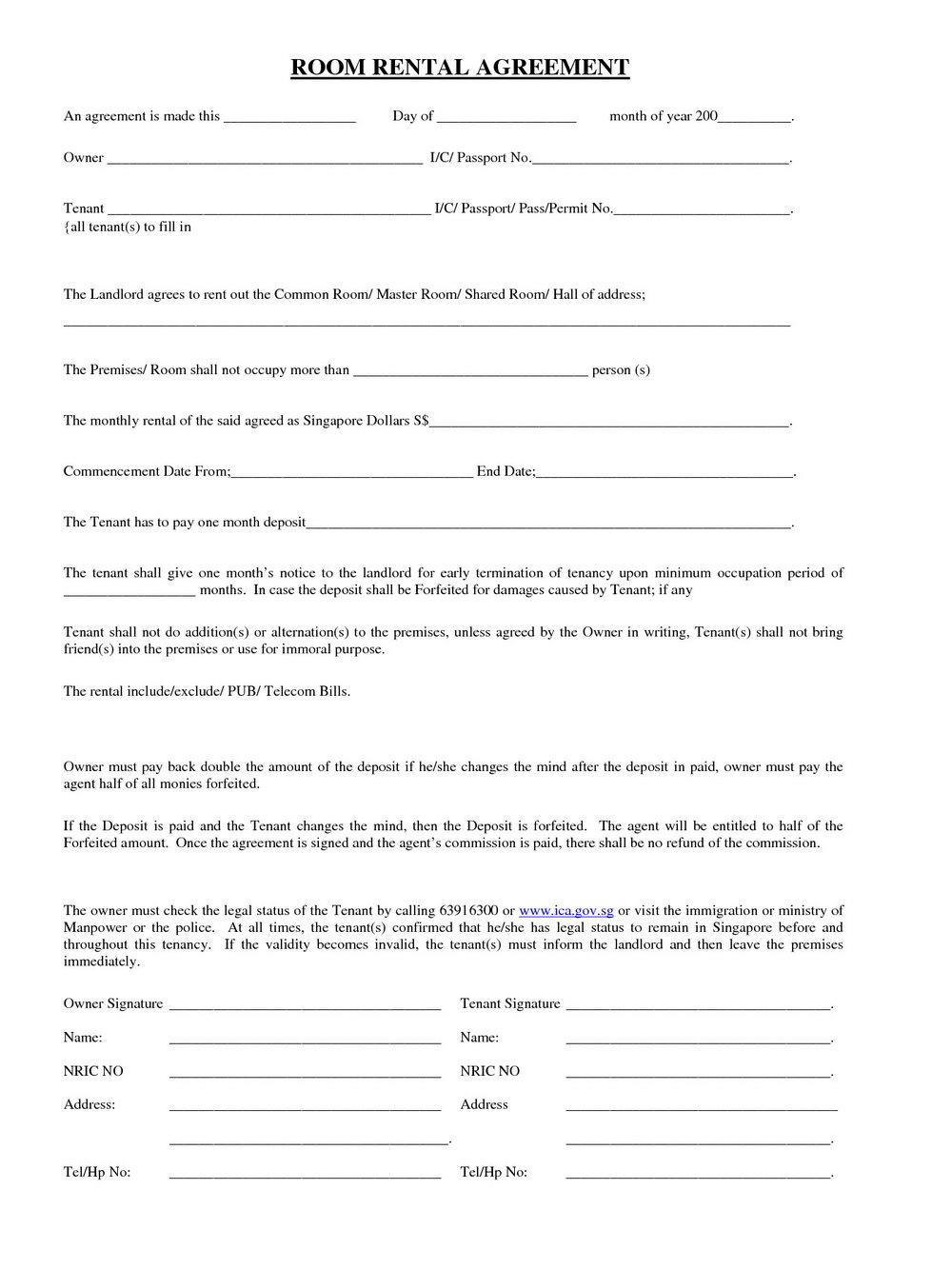 Rent A Room Contract Template Free