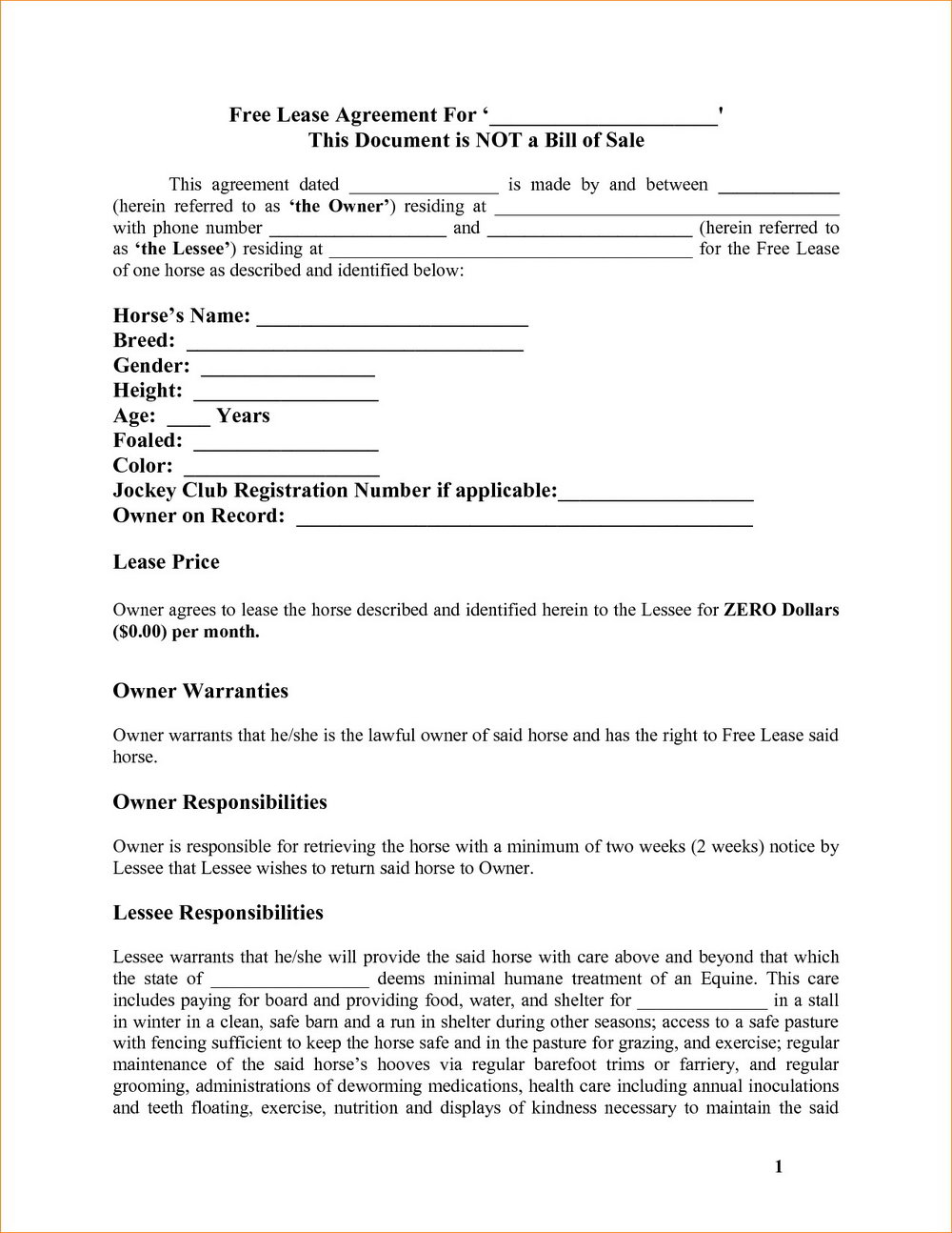 Rent To Own Agreement Template Uk