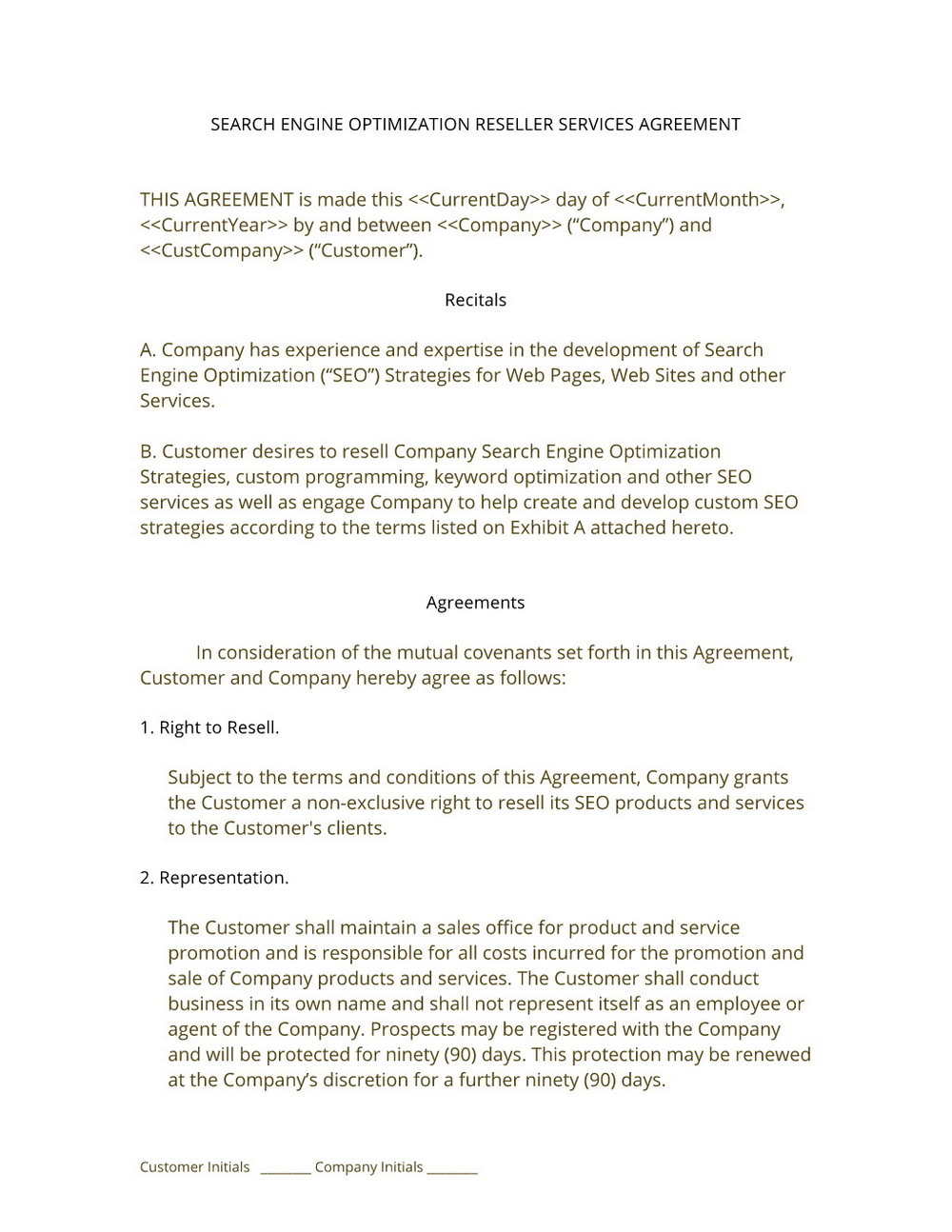 Reseller Agreement Templates