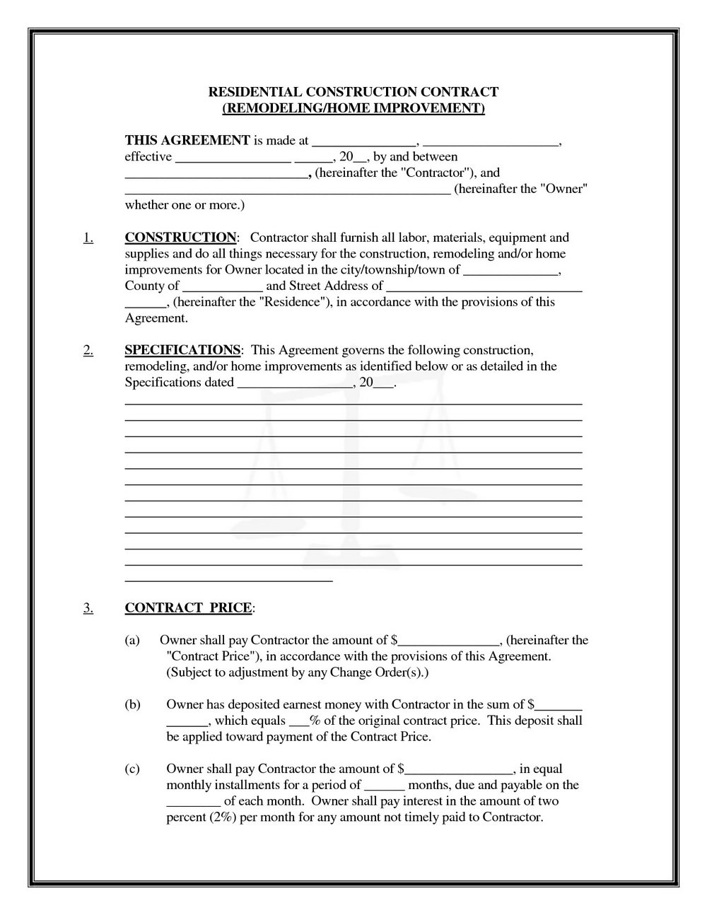 Residential Construction Contract Template Free