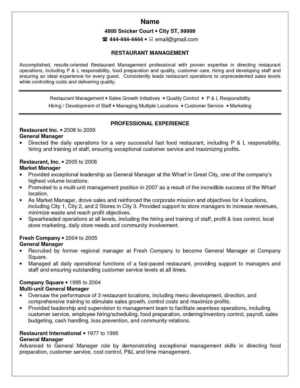 Resume Templates For Restaurant Jobs