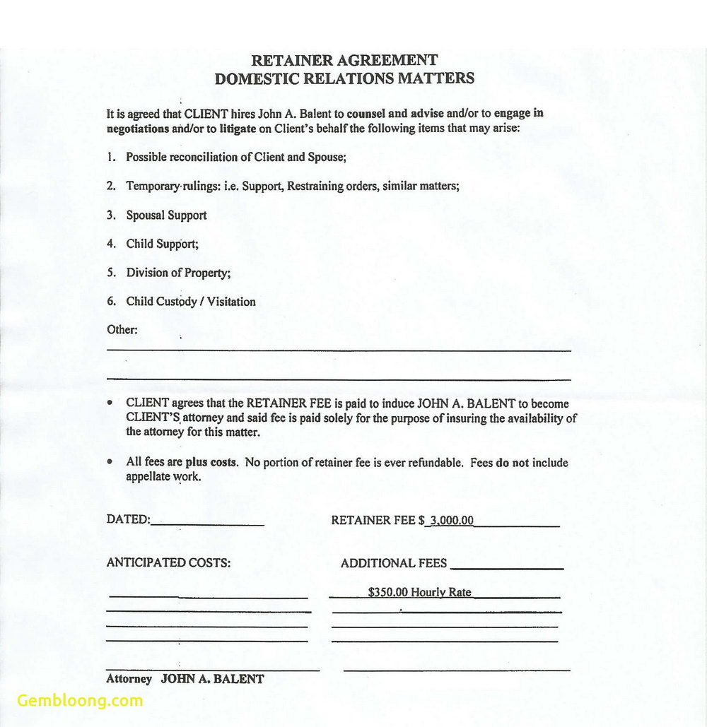 Retainer Agreement Template Canada