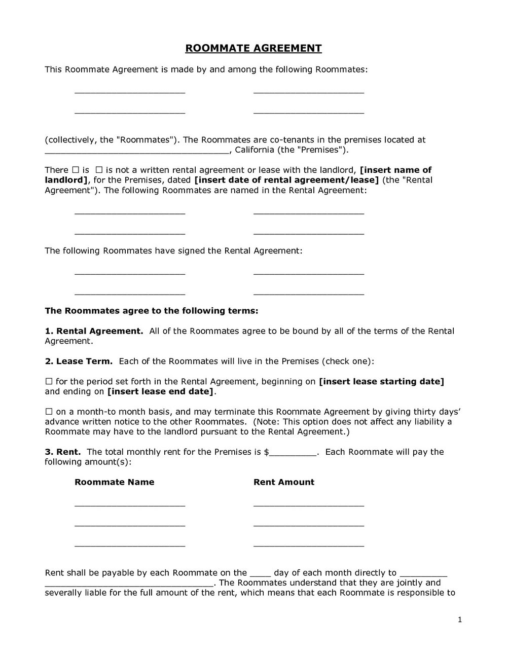 Roommate Rental Agreement Template Word