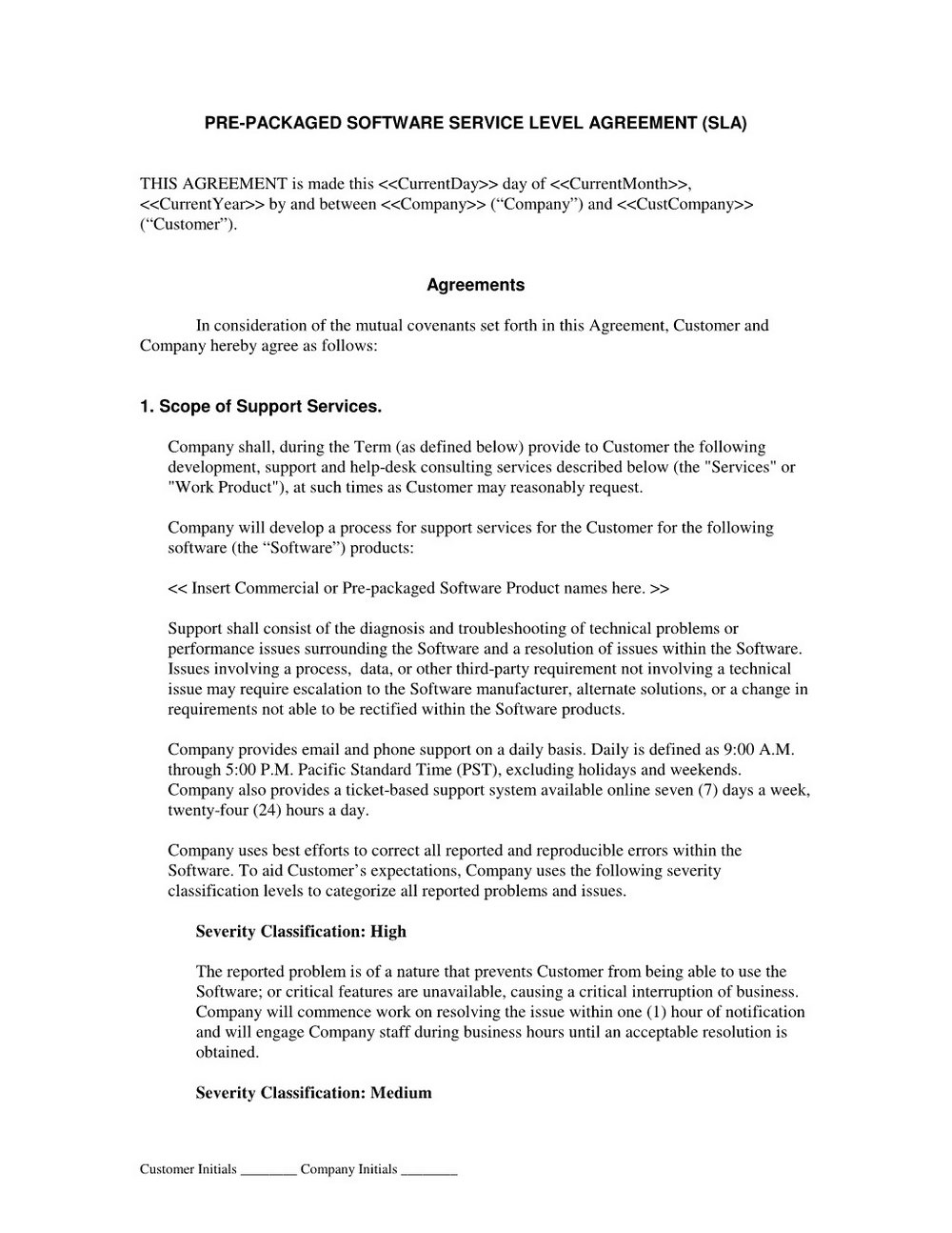 Saas Agreement Template Australia
