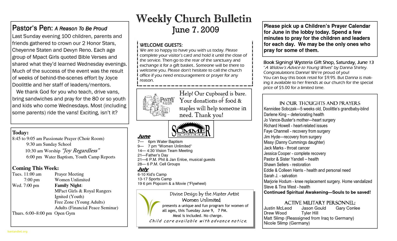 Sample Church Bulletins Templates