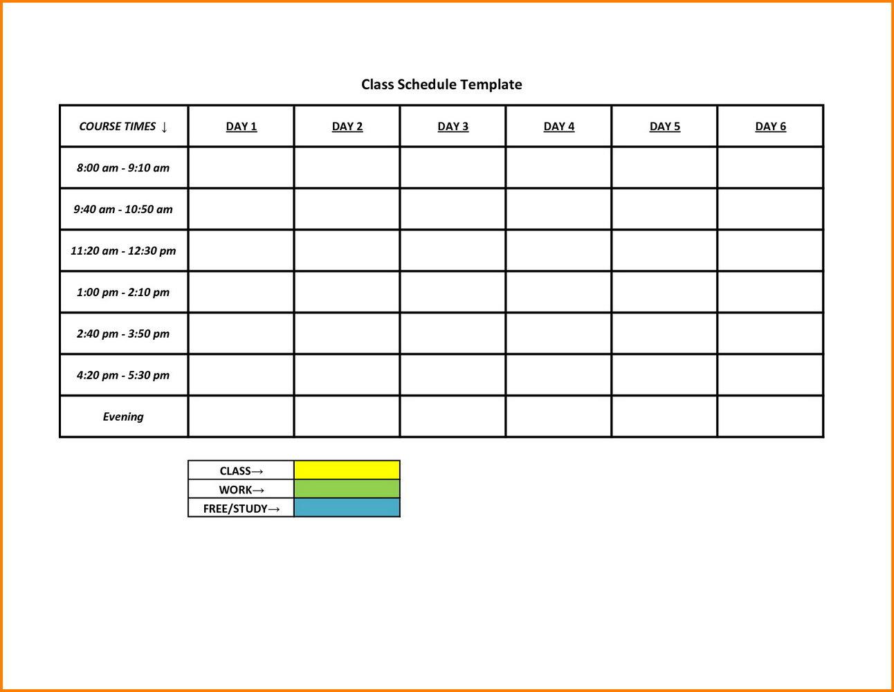 Scheduling Weekly Calendar Template