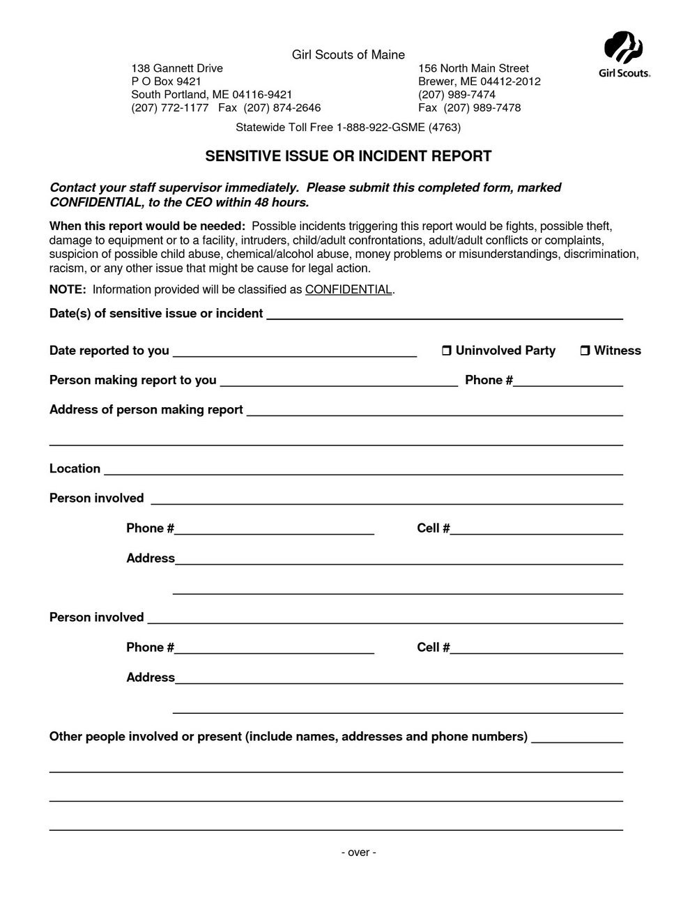 Security Breach Incident Report Template