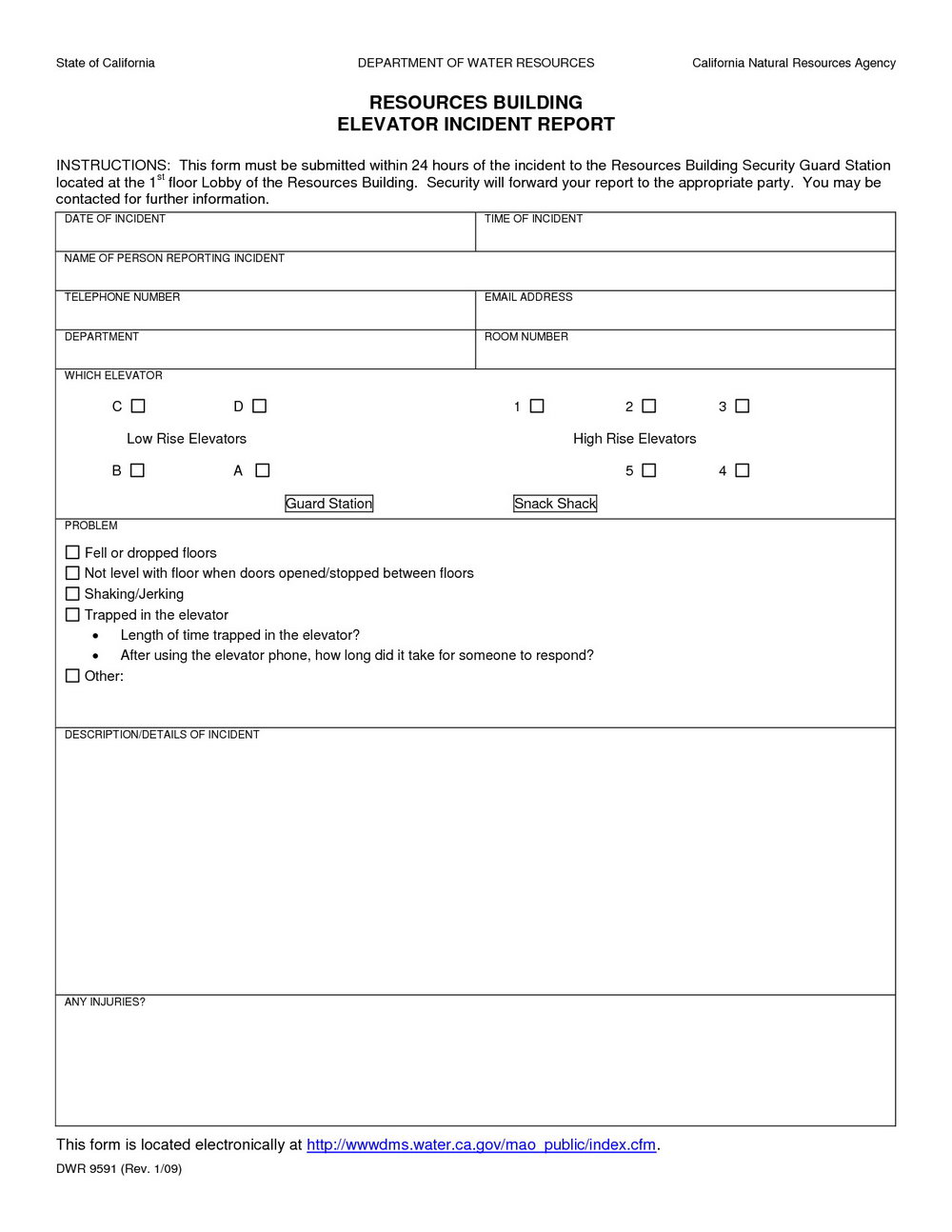 Security Incident Report Form Template