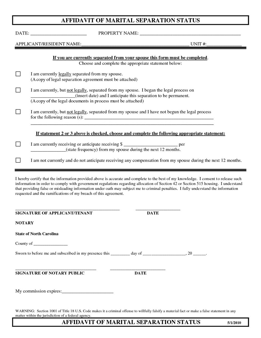 Separation Agreement Template Nc