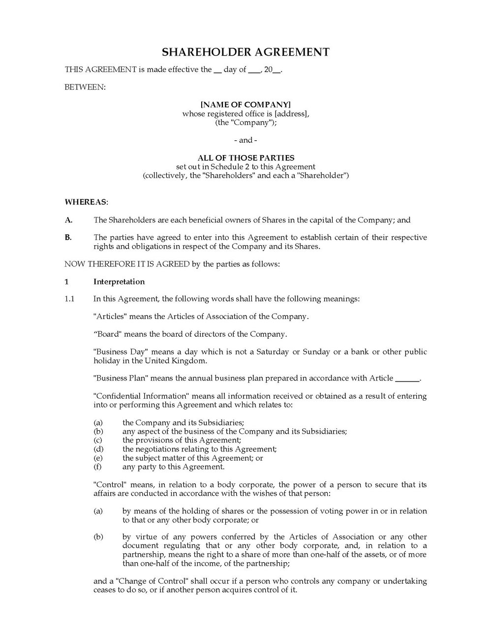 Shareholders Agreement Template South Africa