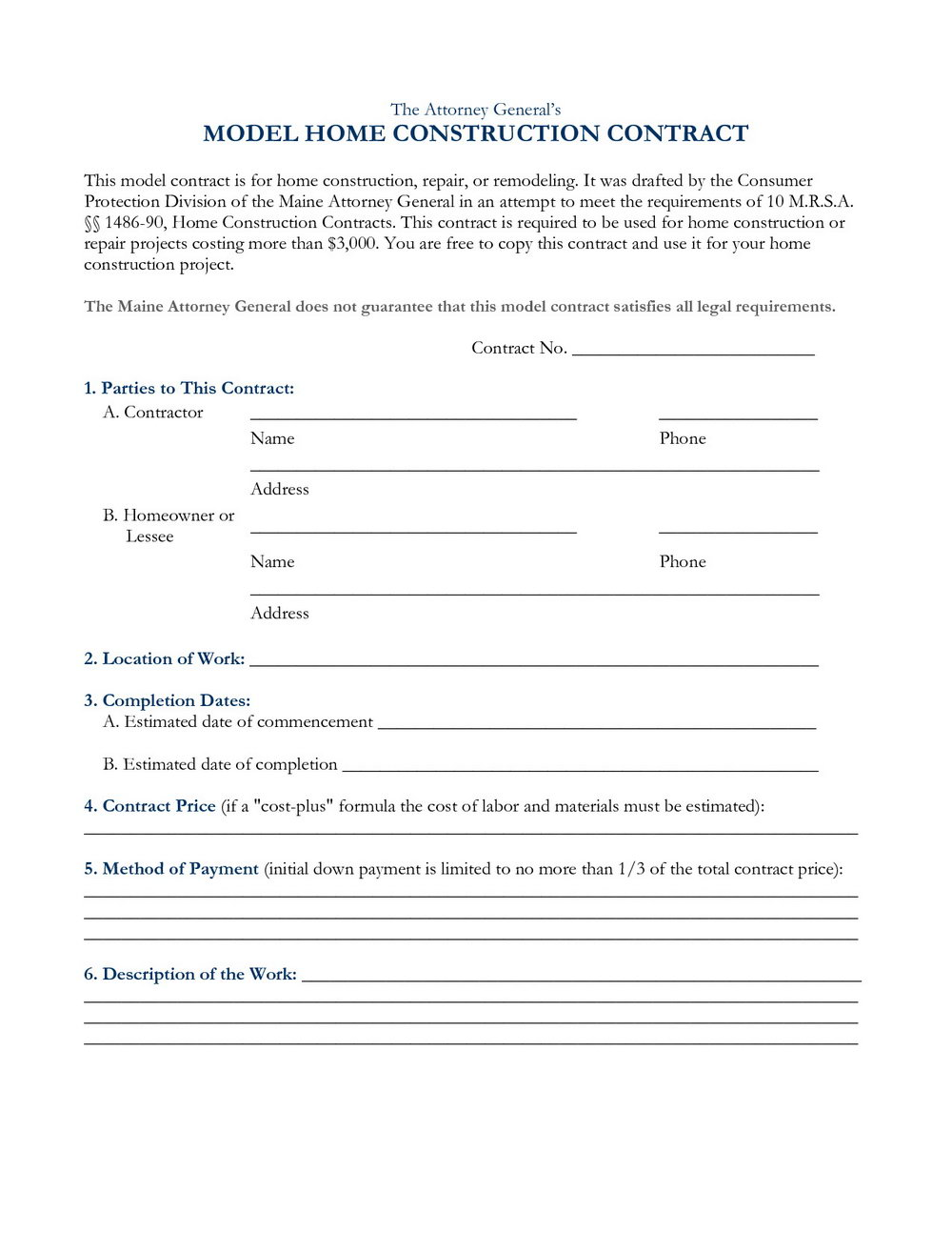Simple Roofing Contract Template