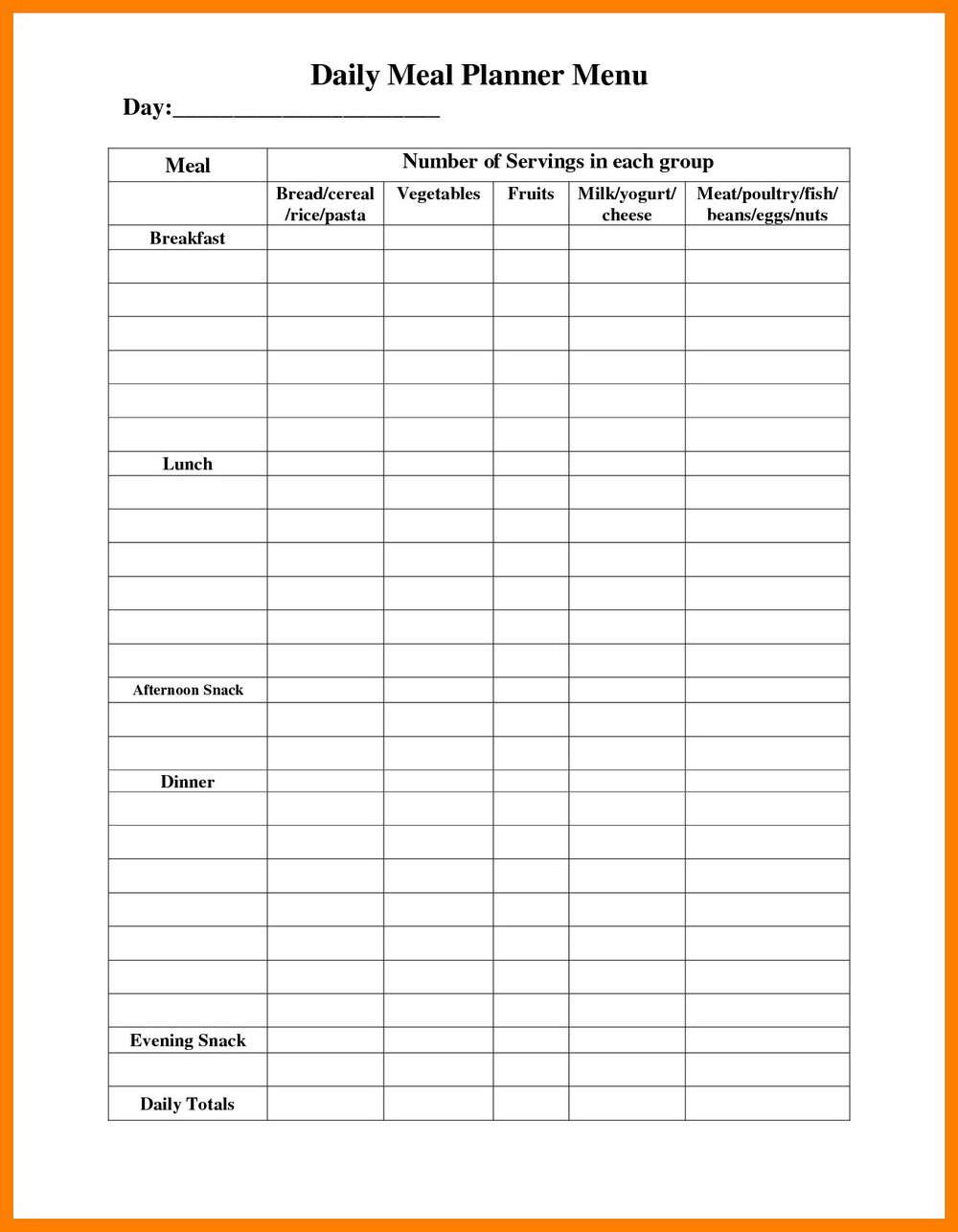 Snack Schedule Template Soccer