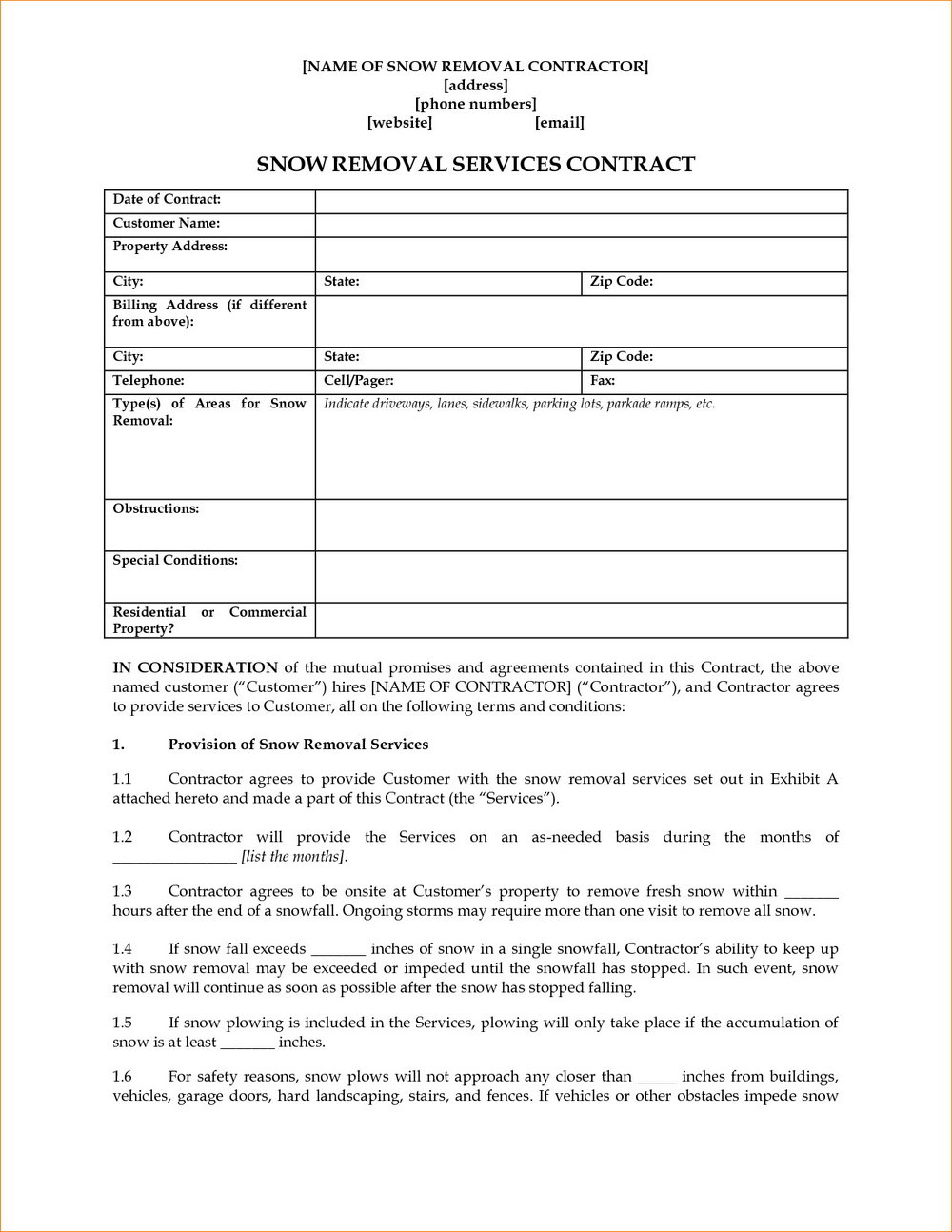 Snow Removal Contract Template Ontario