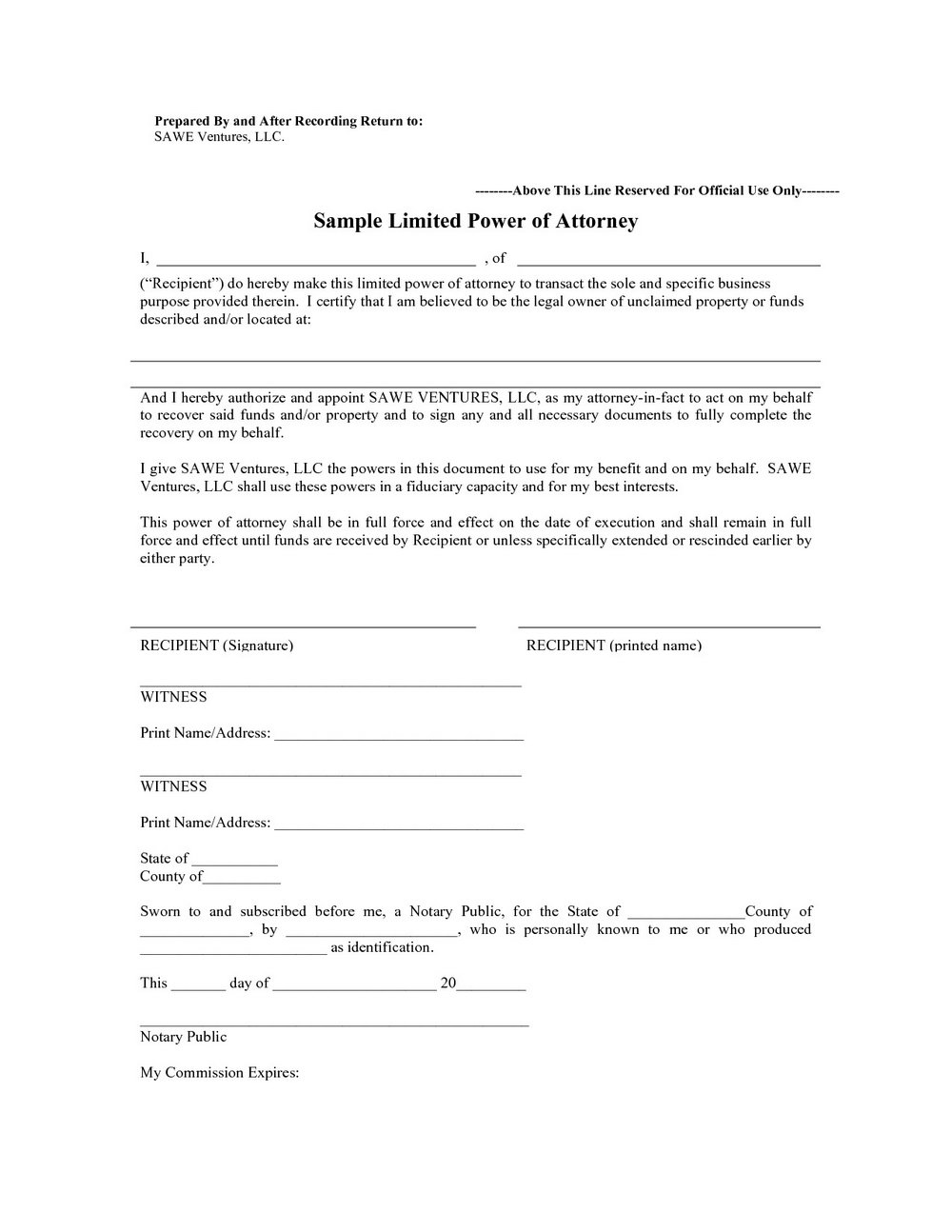 Special Power Of Attorney Template Canada