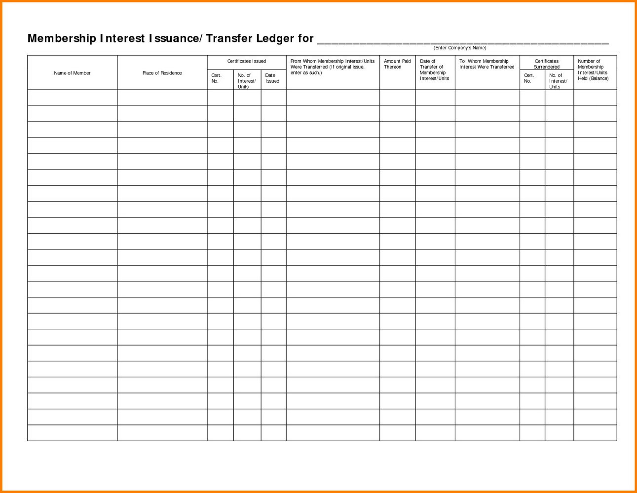 Stock Ledger Template Excel