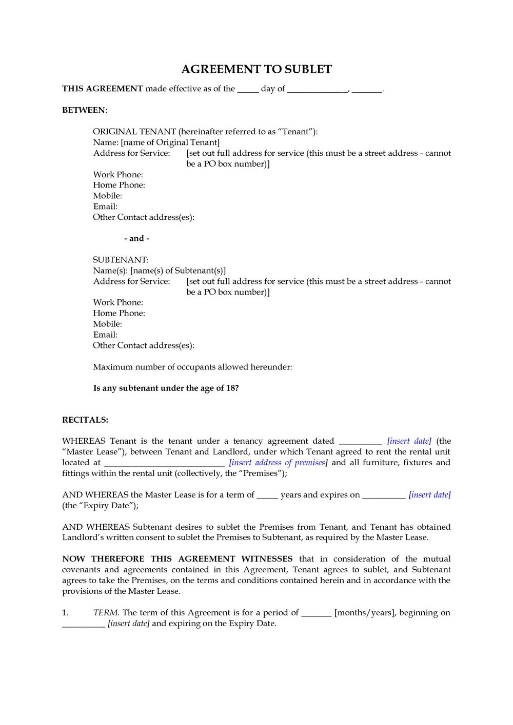 Sublet Agreement Template Bc