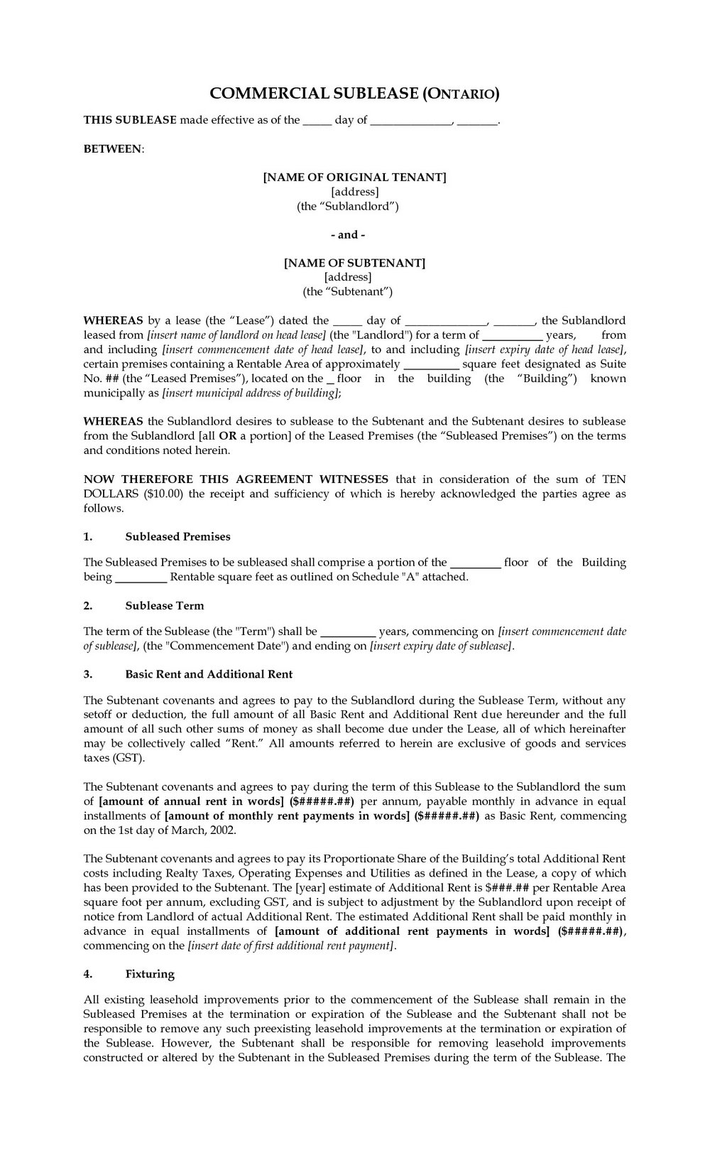 Sublet Agreement Template Free