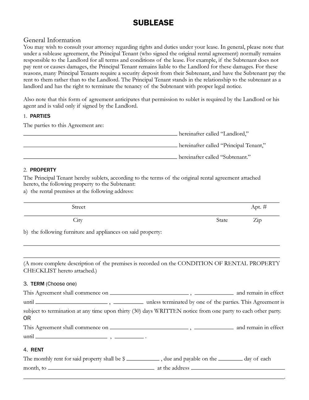 Sublet Agreement Template