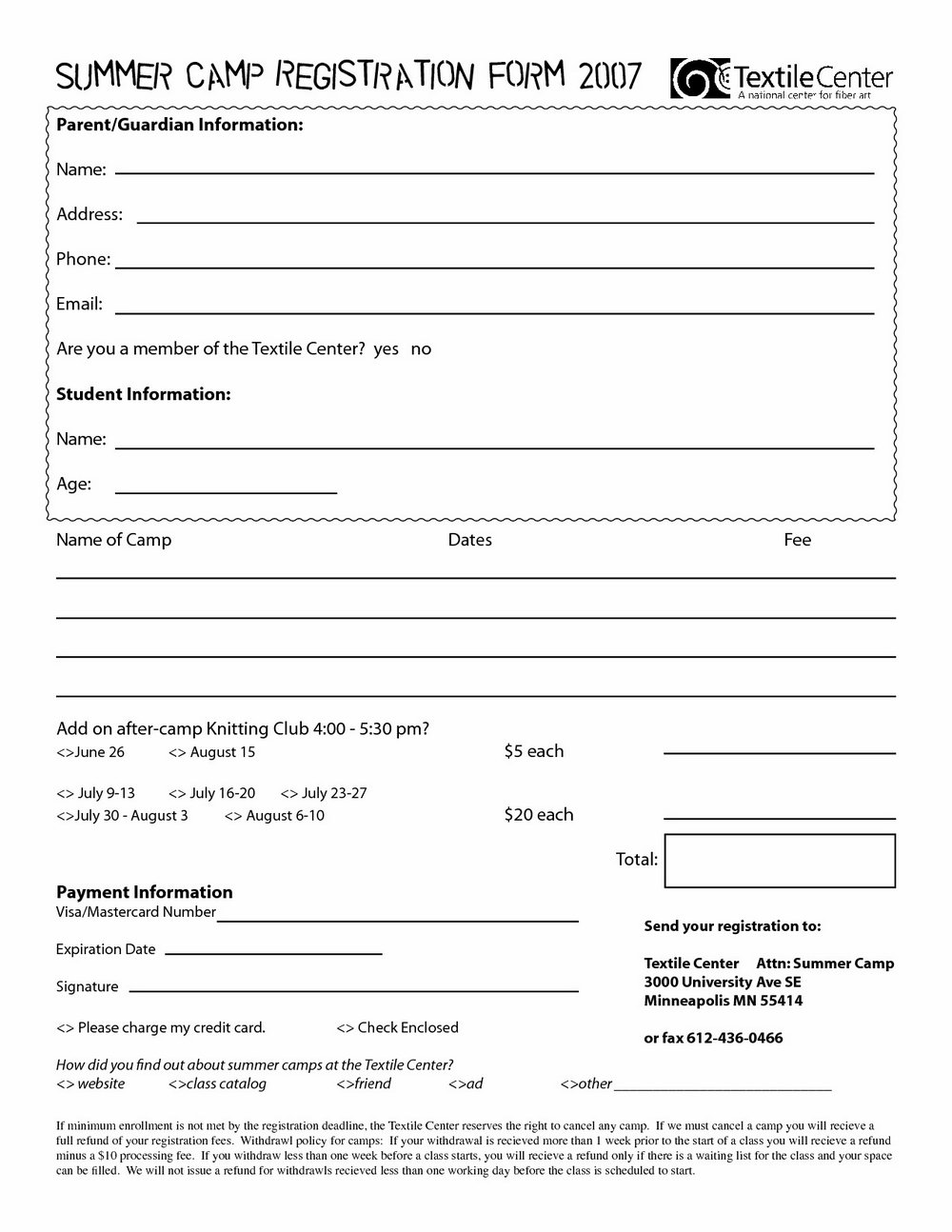 Summer Camp Registration Form Template Word