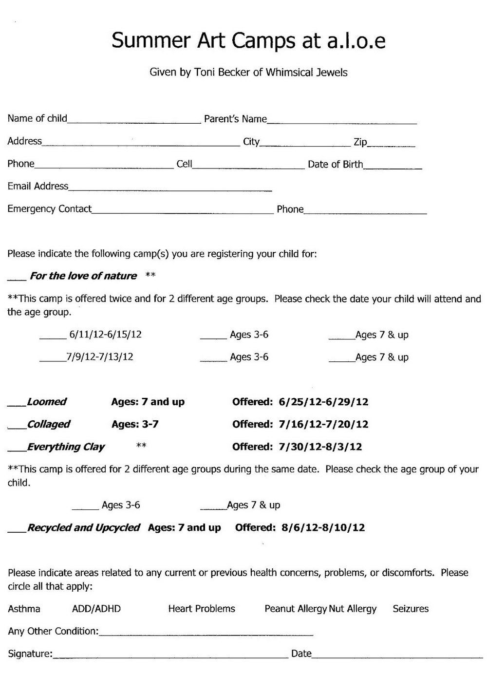 Summer Camp Registration Form Templates
