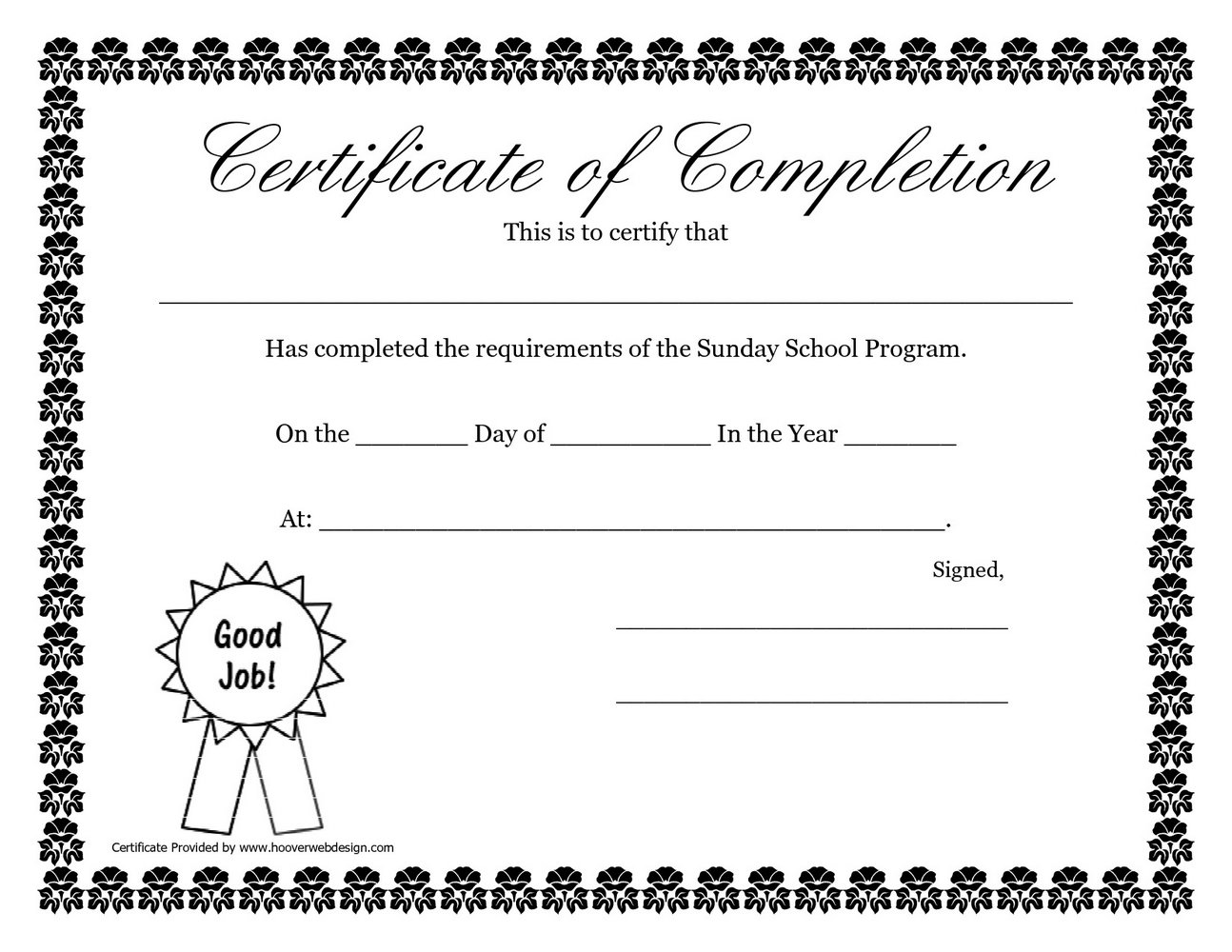 Sunday School Graduation Certificate Template