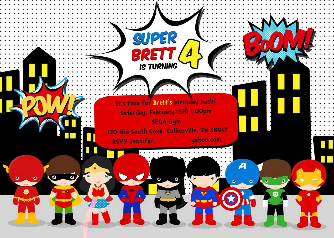 Superhero Birthday Invitation Template