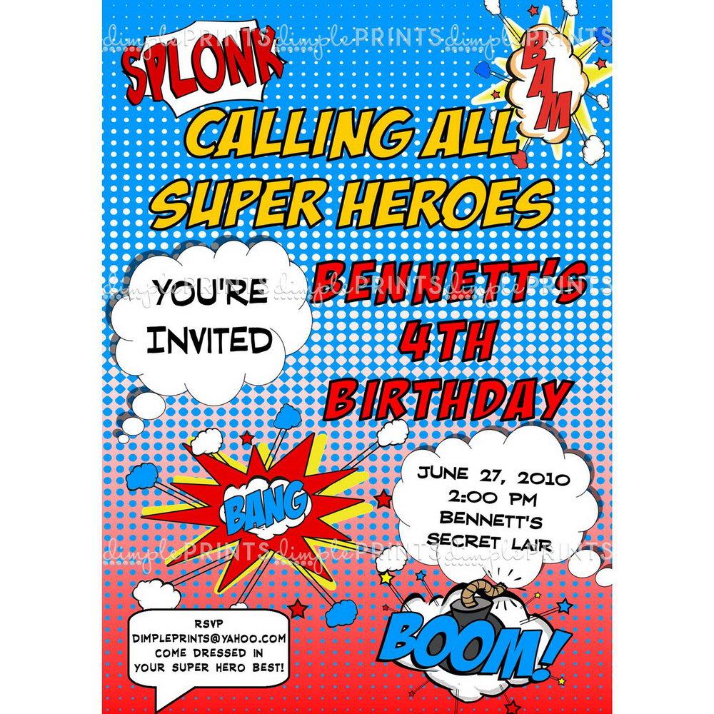 Superhero Newspaper Invitation Template Free