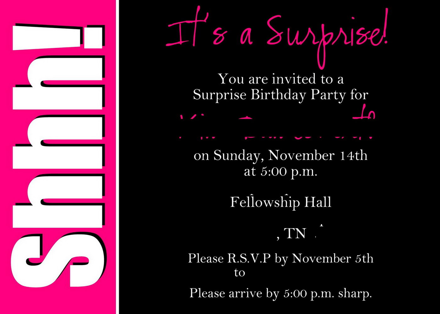 Surprise Birthday Party Invite Template