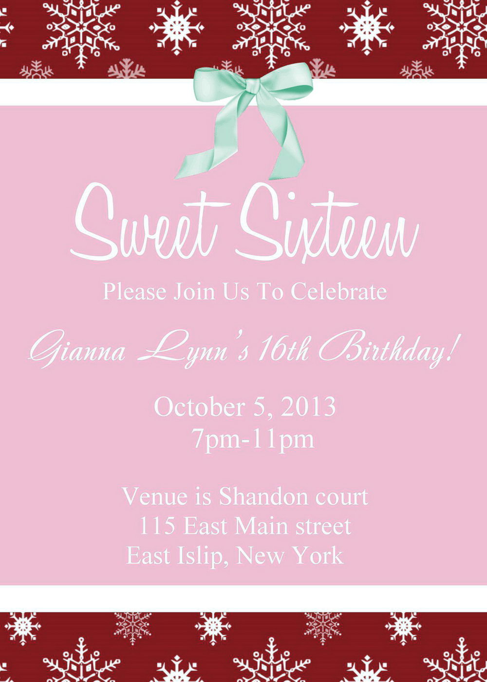 Sweet 16 Invitation Template