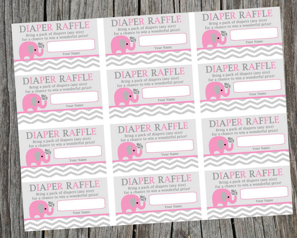 Template For Diaper Raffle Tickets