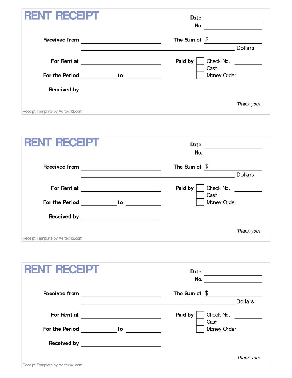 Template Rent Receipt